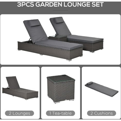Outsunny 3 Pcs Rattan Lounger Glass Table Set Wicker w/ Cushions Outdoor Grey