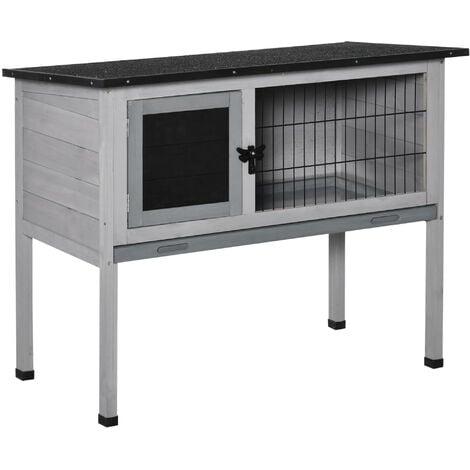 PawHut Standing Wood Rabbit Hutch w/ Hinge Roof Door Removable Tray 38x86cm