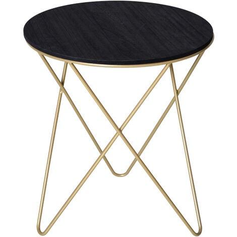 HOMCOM Round Side Coffee Table Sophisticated Elegant MDF Black Gold Tone