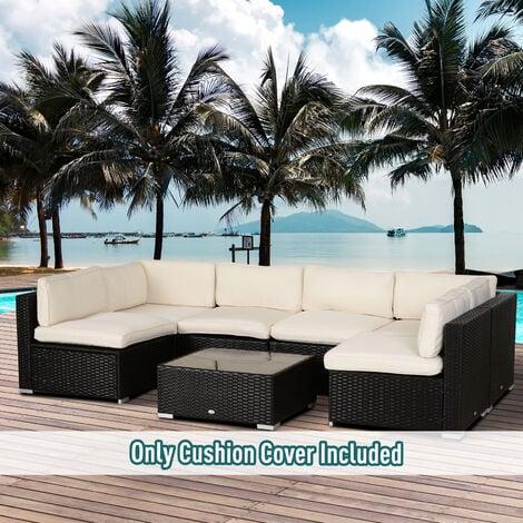 Outsunny Set Of 12 Rattan Cushion Seats, Rattan Furniture Cushion Covers