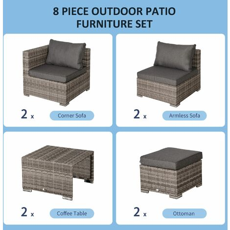 Outsunny 8pc 2-Tone Rattan Set w/ 2 Chairs 2 Stools Sofa Table Steel Frame Grey