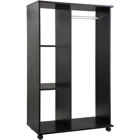 HOMCOM Open Wardrobe with Hanging Rail and Storage Shelves Black
