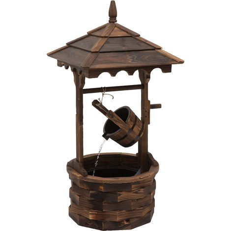 Outsunny Wood Water Fountain Decorative Working Garden Ornament w/ Electric Pump