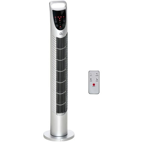 HOMCOM 78.5 Tower Fan Oscillating 3 Speeds 3 Winds 40W w/ Remote Control Silver Tone