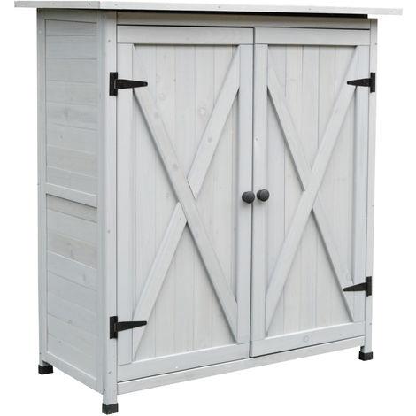 Outsunny 110x117cm Wooden Garden Tool Shed w/ Asphalt Roof Shelves Organisation