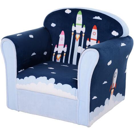 HOMCOM Kids Single Armchair Sofa Seat Wood Frame Padding Bedroom 3 Yrs+ Blue