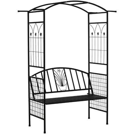 Outsunny 2-Seater Garden Arch Bench Metal Frame Vintage Details Side Trellis