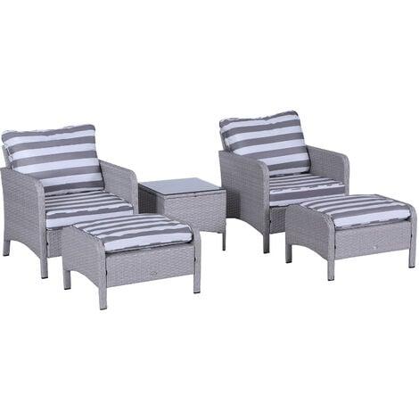 Outsunny 5 Pcs PE Rattan Garden Furniture Set w/ C4hairs Stools Glass Table Grey