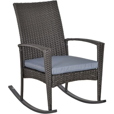 Outsunny Rattan Rocking Chair Rocker Garden Furniture Patio Bistro Recliner