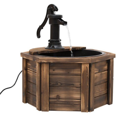 Outsunny Wooden Electric Water Fountain Garden Ornament w/ Hand Pump Vintage