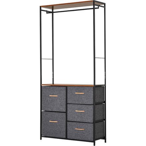 HOMCOM 175x83cm Freestanding Clothes Hanger Storage Steel Frame 5 Drawers Shelf