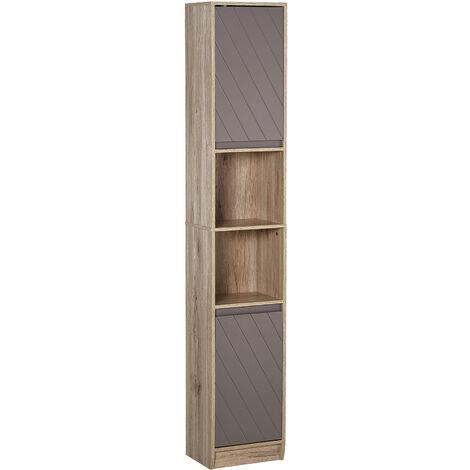 HOMCOm 170cm Freestanding Storage Cabinet Slimline Unit w/ 2 Cupboards 2 Shelves