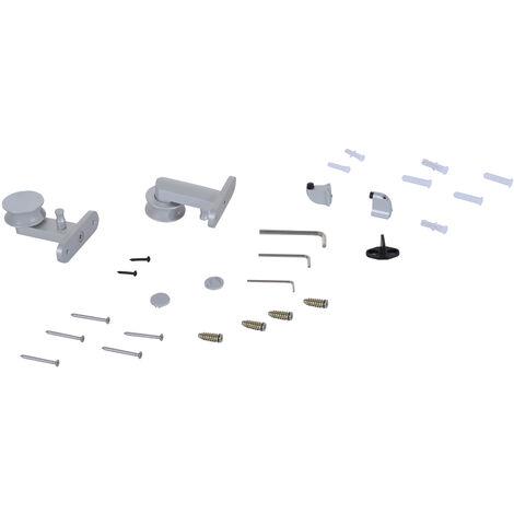 HOMCOM 2M / 6.6ft Modern Sliding Glass Door Set Shell Handle Living Room Office