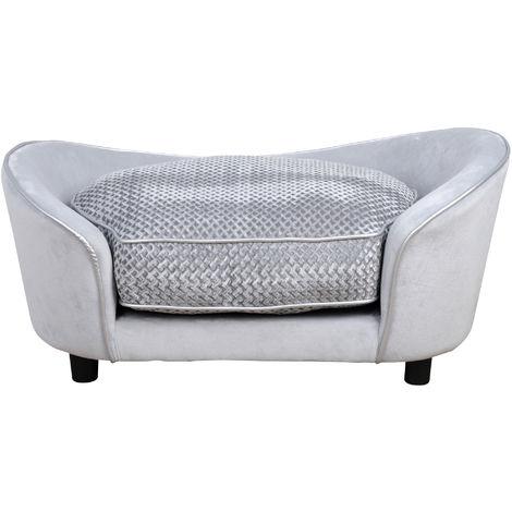 PawHut 78cm Sleek Pet Sofa Small Dog Pet Seat Padded Bed w/ Cushion Grey