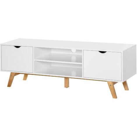 HOMCOM Elegant TV Stand Storage Cabinet Unit w/ Wood Legs 2 Cupboards 2 Shelves