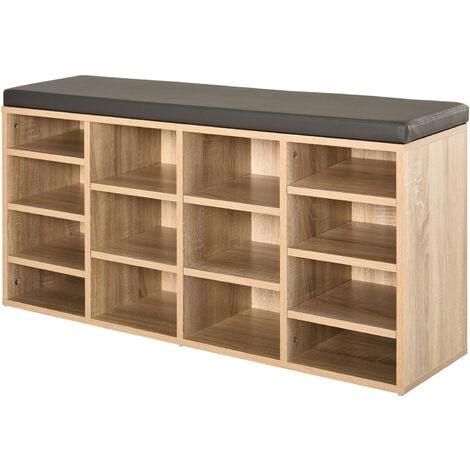 HOMCOM Multi-Storage Shoe Rack 14 Compartments Cushion Moving Shelves Home Brown