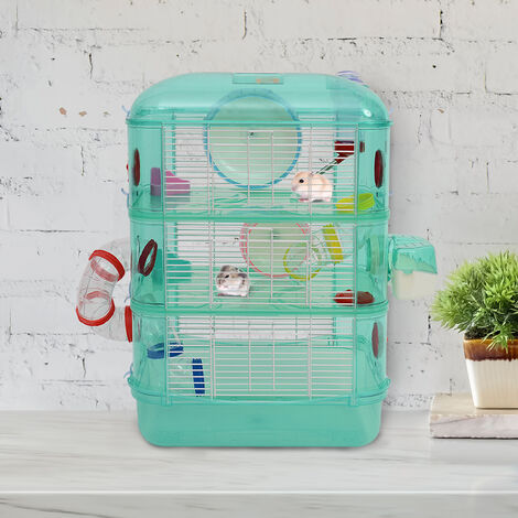 3-Story Small Animals House Hamster Cage Toy Play Plastic Metal w/ Tunnel System
