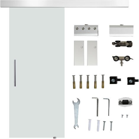 HOMCOM 78cm Modern Sliding Door Set w/ Glass Door Aluminium Rail Home DIY Clear