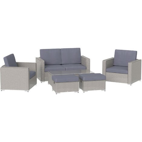 Outsunny 6PC Garden Rattan Sofa Set Outdoor Furniture Patio Table Loveseat Stool Lounging Ottoman Aluminium Frame Wicker Weave Conservatory Grey