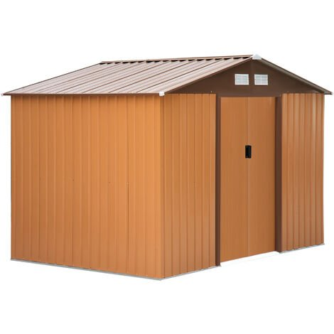 Outsunny Lockable Garden Shed Large Storage Sheds Box Outdoor Furniture Khaki (9 x 6FT)