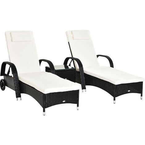 Outsunny Garden Rattan Furniture 3 PC Sun Lounger Recliner Bed Chair Set with Side Table Wicker (Black)