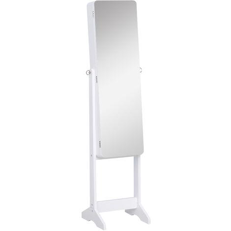 HOMCOM Freestanding Jewellery Mirror Cabinet Armoire w/ LED Lights White