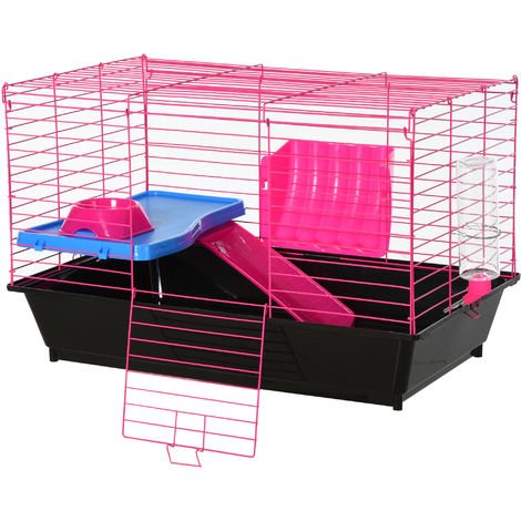 PawHut Small Animal Cage Rabbit Guinea Pig Hutch Pet Play House w/ Platform Ramp