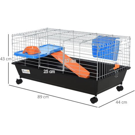PawHut Small Animal Cage Rabbit Guinea Pig Hutch Pet Play House w/ Platform