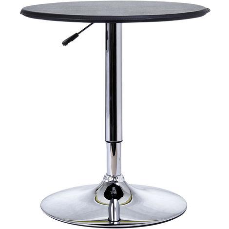 HOMCOM 93cm Adjustable Round Bar Table w/ PU Leather Top Steel Base Bistro Black