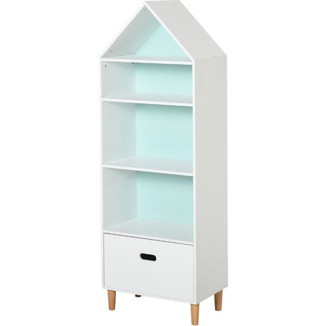 HOMCOM 4-Tier Kids Rocket Bookshelf w/ Drawer Bedroom Tidy Organised White