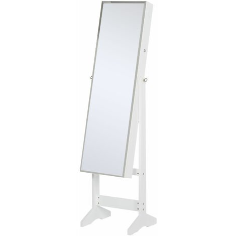 HOMCOM Lockable Jewellery Storage Mirror Armoire Freestanding Adjustable White