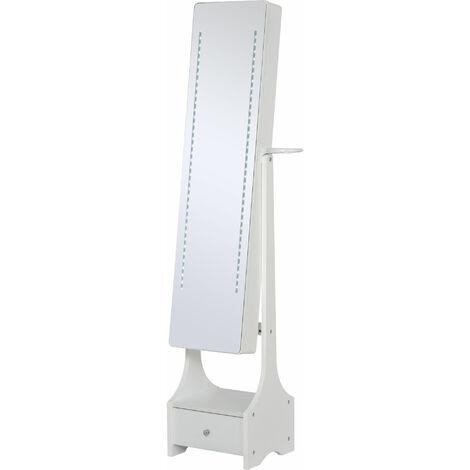 HOMCOM Freestanding Jewellery Storage Mirror Armoire w/ LED Lights Hooks Drawer