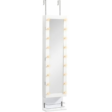 HOMCOM Wall Hanging/Freestanding Jewellery Storage Mirror Cabinet Hooks Lights