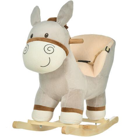 HOMCOM Kids Rocking Ride-On Donkey Horse w/ Cushion Seat Wood Frame Handlebars