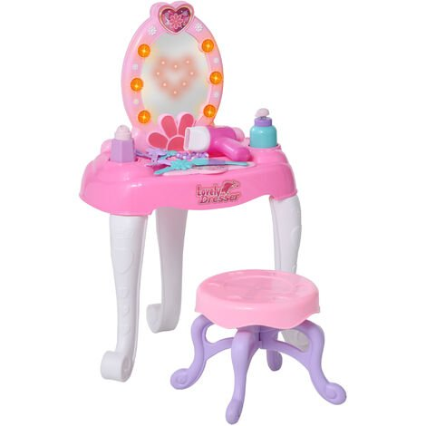 HOMCOM Kids Playtime Dressing Table Vanity MirrorTable Chair Set w/ Lights Sounds