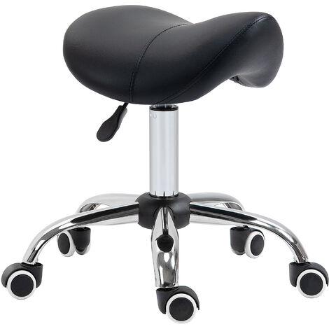 HOMCOM 5-Wheel PU Leather Saddle Stool Padded Salon Beauty Seat Adjustable Height