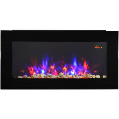 HOMCOM 1000W/2000W LED Electric Fireplace Automatic Function Remote Timer Safe