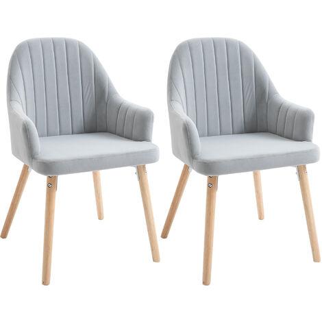 HOMCOM Set Of 2 Elegant Tub Velvet-Feel Dining Chairs w/ Wood Legs Metal Frame