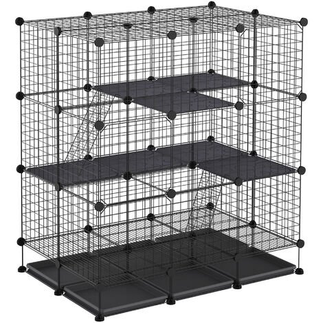 PawHut Multi-Way Steel Exanding Pet Cage Home Playpen Cage Small Animal Black