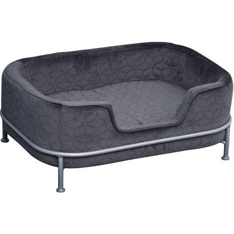PawHut Deluxe Velvet-Feet Pet Sofa w/ Elevated Metal Frame Cushion Dog Cat Grey