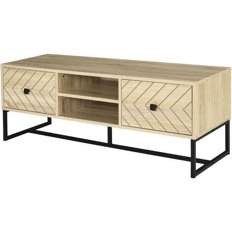 HOMCOM Zig-Zag TV Stand Cabinet w/ 2 Drawer 2 Shelves Metal Base Home Storage