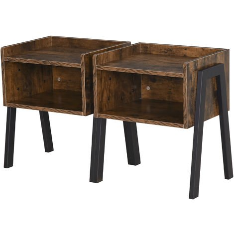 HOMCOM Set of 2 Industrial Side Tables Rustic Style Storage w/ 2 Shelves Brown