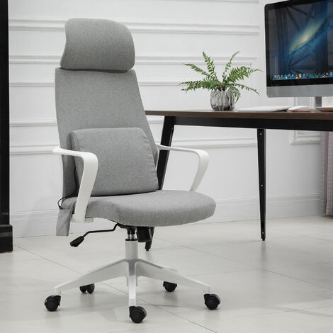 Vinsetto High Back Office Chair w/ Removable USB Massage Pillow Back Cushion