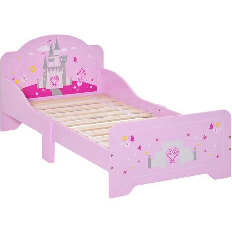 HOMCOM Kids 143x73cm Princess Wooden Bed w/ Safety Rails Stylish Bedtime