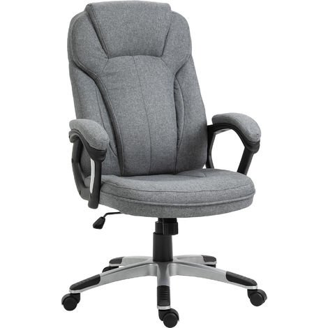 Vinsetto Linen Executive Office Chair High Back Rolling Adjustable Ergonomic Grey