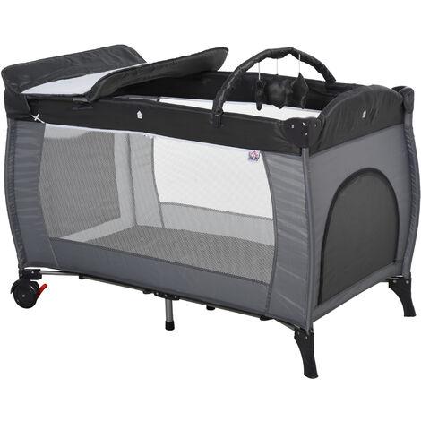 HOMCOM Foldable Baby Travel Cot Bassinet w/ Wheels Metal Frame Mesh Grey