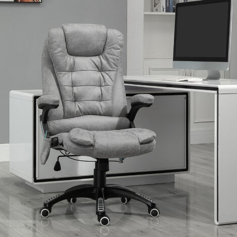 Vinsetto 135° Office Chair w/ Heating Massage Points Relaxing Reclining Grey