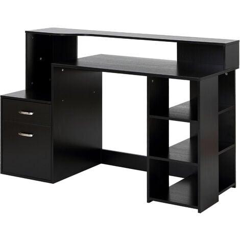 Workstation Desk Table Storage Shelves, Black Desk With Shelves