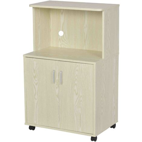 HOMCOM Mini Moving Kitchen Storage Cabinet w/ Cupboard Shelf Locking Wheels Oak