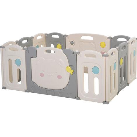 HOMCOM 12 PCs Kids Child Playpen Foldable Safety Gate Fence w/ Lock Toys Sounds